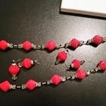 Necklace and earrings in red corrugated cardboard